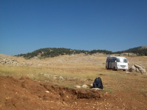 This van held debating 6 archaeologists, two geologists, a publicist, and a Turkish government official while digging soil trenches around Rough Cilicia, southern Turkey.