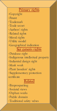 inventor's intellectual property category list. primary rights: copyright, patent, trademark, trade secret, author's rights, related rights, moral rights, utility model, geographical indication. Sui generis rights: database rights, indigenous intellectual property, industrial design right, mask work, plant breeder's rights, supplementary protection. Related: Bioprospecting, societal views, orphan works, public domain, traditional safety valves.